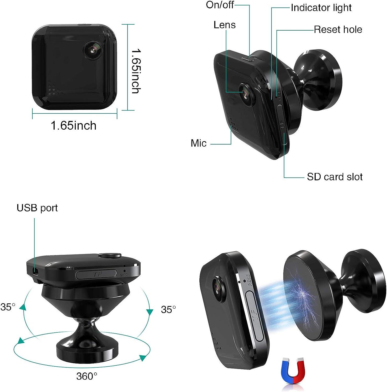 Spy Camera Mini Hidden Camera 1080P Wireless Spy Cam Security Surveillance Cameras Audio /& Video Recording for Live Remote View Portable WiFi Nanny Cam with Night Vision Motion Detection