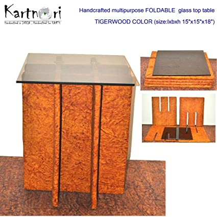 KartnOri Women s handcrafted WENGE FOLDABLE BROWN GLASS TOP side table for  bedroom drawing dining eef11b713