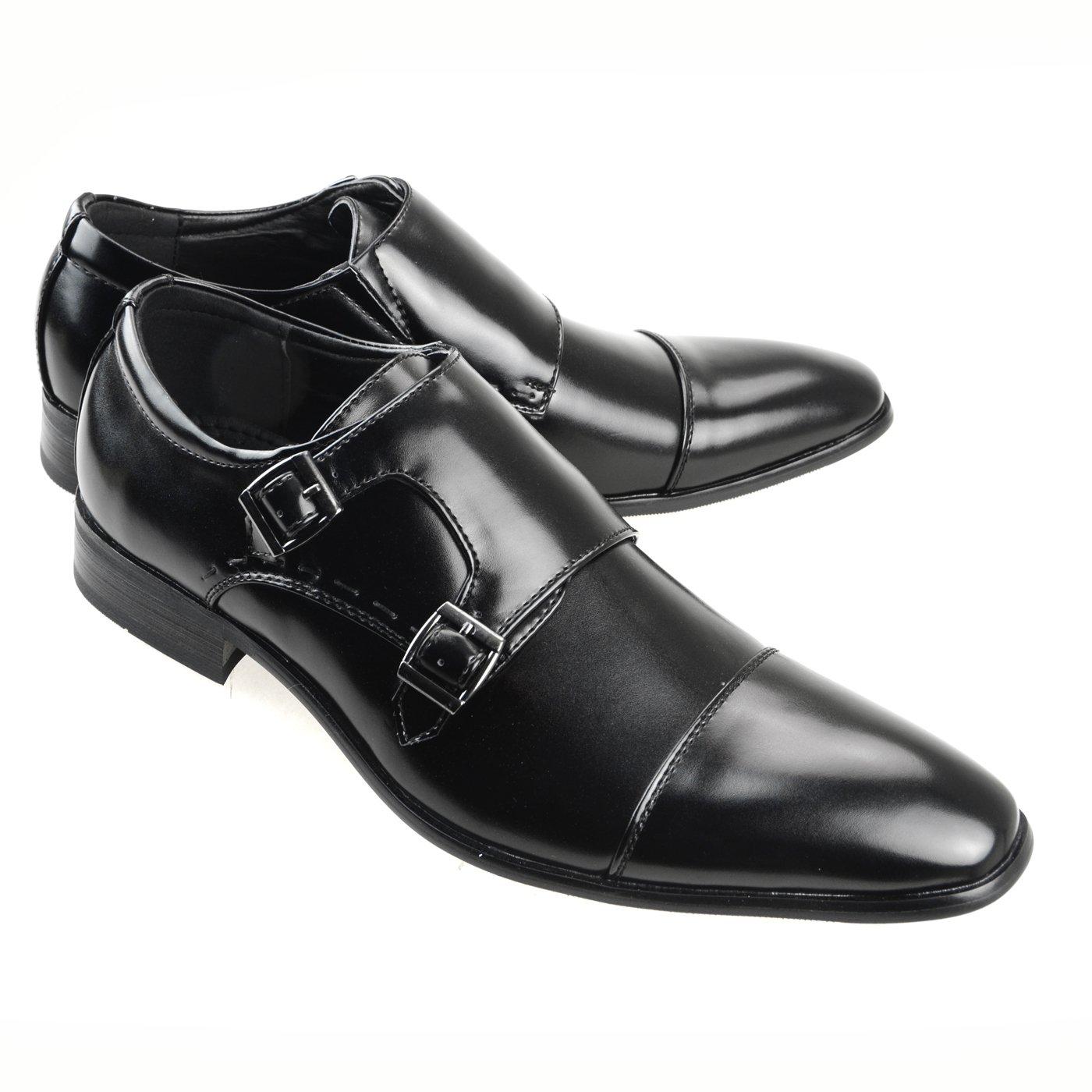 MM/ONE Oxford Men's Plain-Toe Side Shoes Black Dress Shoes Lace-up Monk Strap Mens Shoes Monk-Strap Plain Toe Slip-On Business Shoes Formal Straight Tip Loafe Black, 44 EU (US Men's 10.5 M)