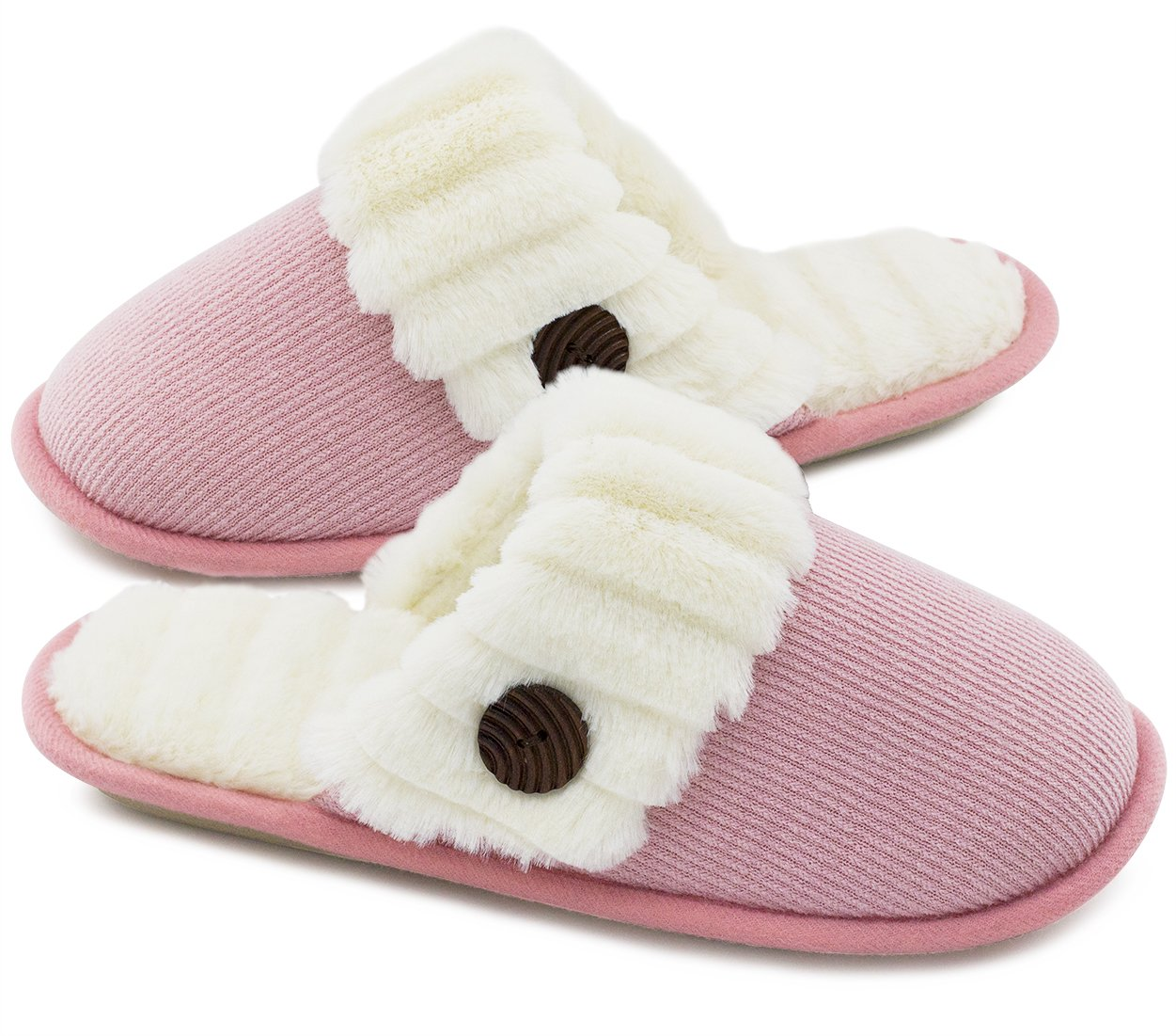 HomeTop Women's Cute Fuzzy Knitted Memory Foam Indoor House Slippers for Families Couples (37-38 (US Women's 7-8), Pink)