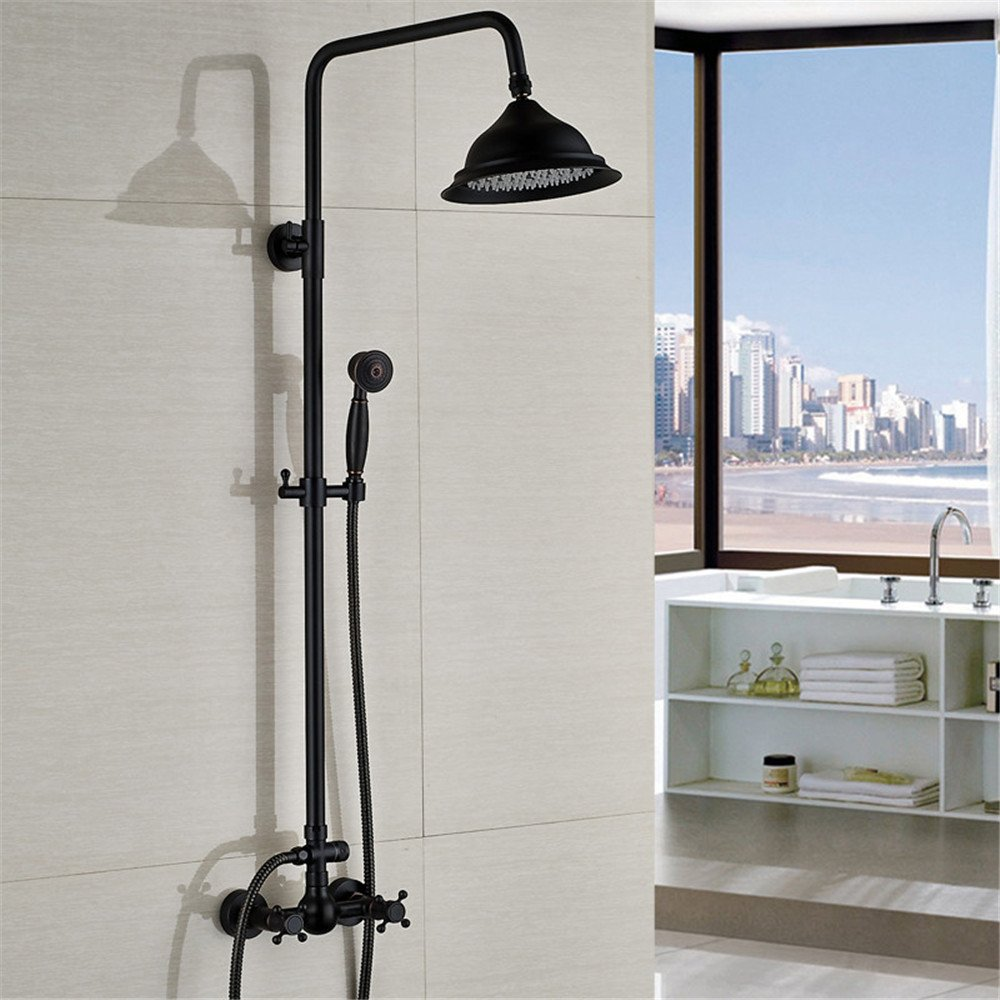 FHLYCF European style retro bronze, Black Bronze shower, lifting black shower, wall mounted shower faucet hand shower set