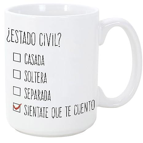 MUGFFINS Tazas Desayuno Originales y Divertidas - ¿Estado Civil? - 350 ml - Tazas