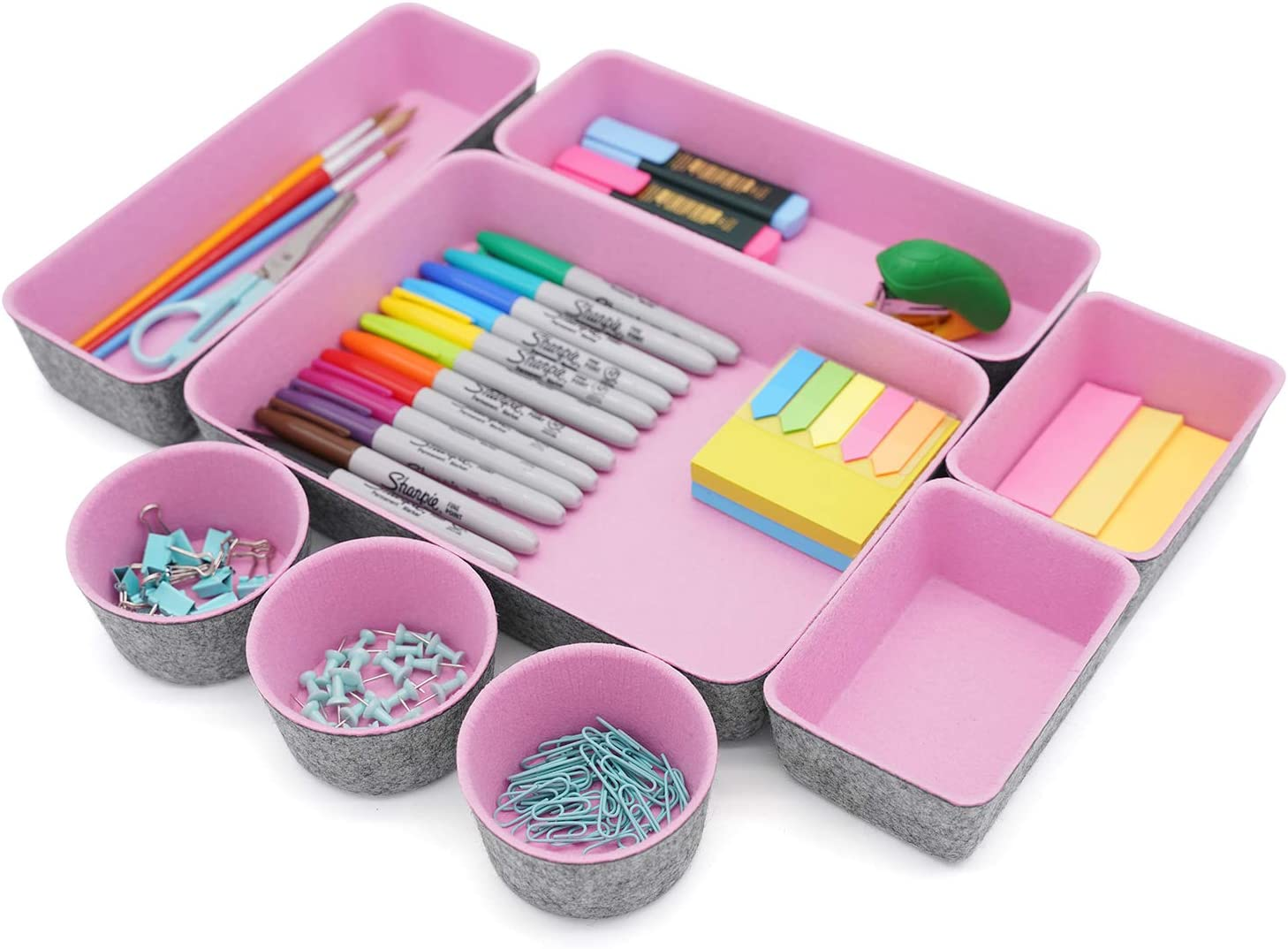 Welaxy Office Supplies Drawer Organizers Trays Storage Bins Drawers dividers Storage bin Vanity Gifts idea,Pack -8 (Pink)