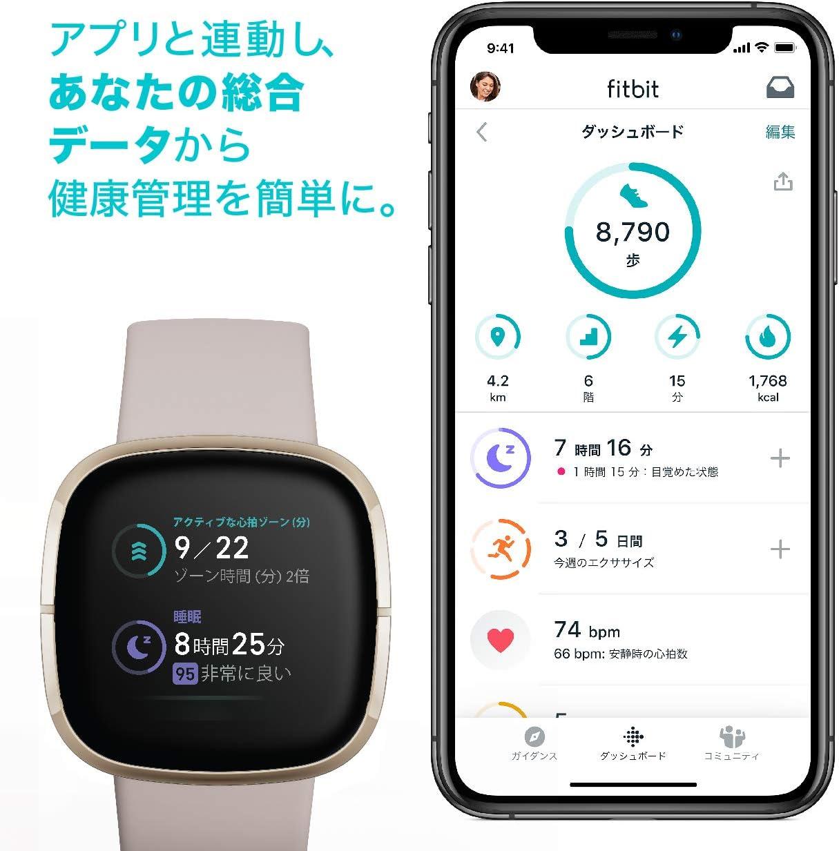 Fitbit Sense Alexa搭載/GPS搭載 スマートウォッチ Carbon/Graphite カーボン/グラファイト L/S サイズ [日本正規品]
