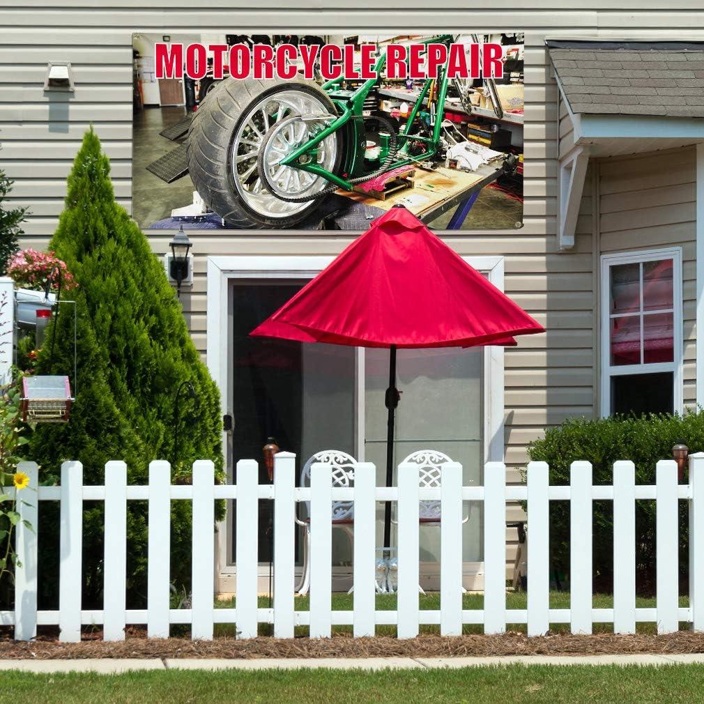 Vinyl Banner Multiple Sizes Motorcycle Repair Advertising Printing B Lifestyle Outdoor Weatherproof Industrial Yard Signs 10 Grommets 60x144Inches