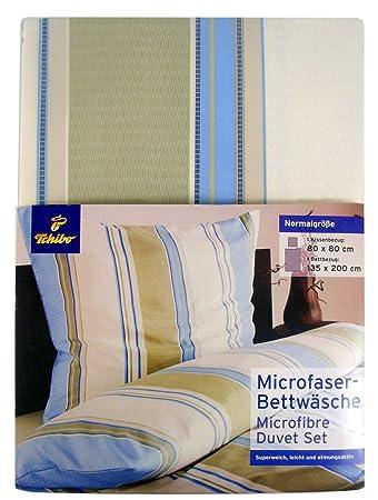 Tcm Tchibo Microfaser Bettwäsche 2tlg Blau Beige 135x200 Cm