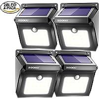 4-Pk Zookki Upgraded 28 LEDs Wireless Solar Motion Sensor Light