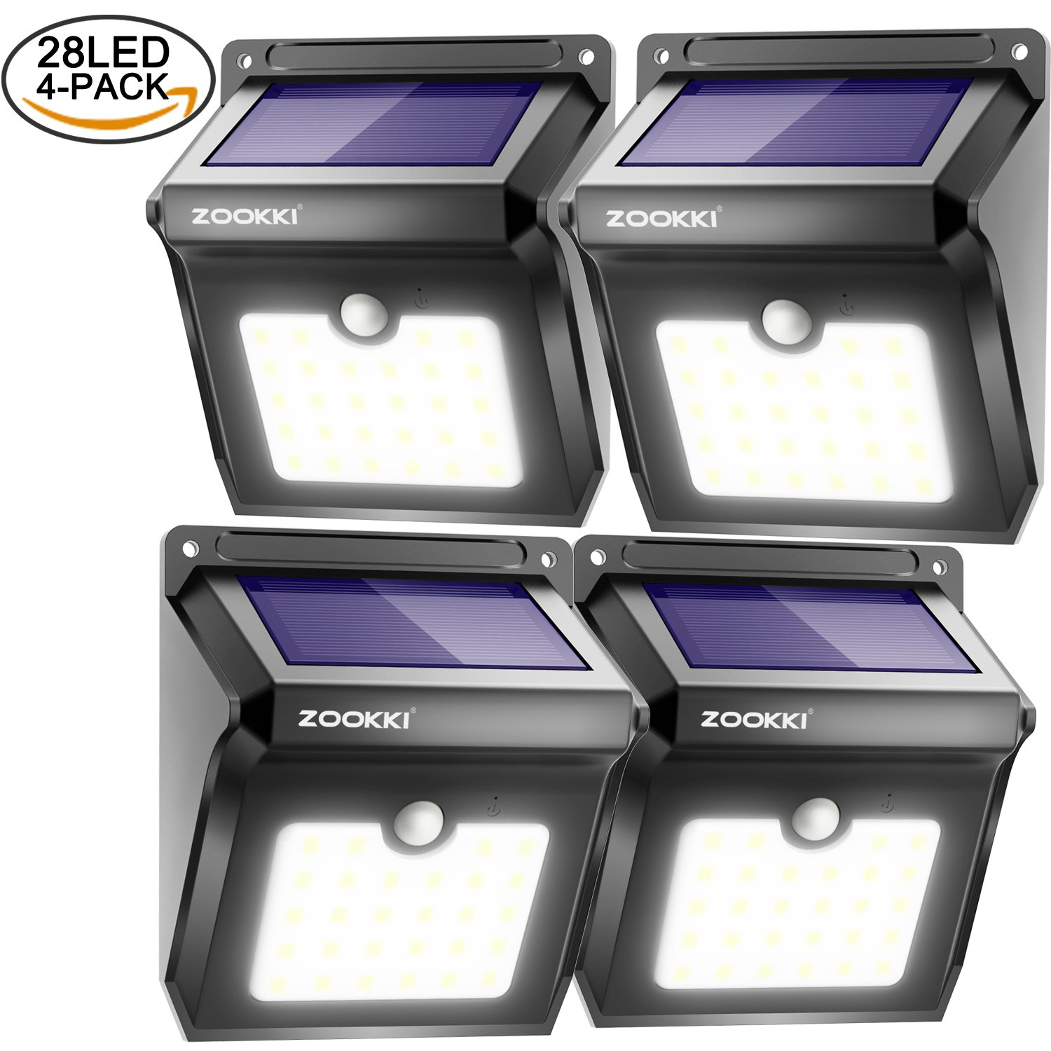 zookki upgraded 28 leds wireless solar motion sensor light waterproof security lights powerful for outdoors