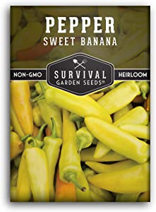Survival Garden Seeds - Sweet Banana Pepper Seed for Planting - Packet with Instructions to Plant and Grow in Your Home Vegetable Garden - Non-GMO Heirloom Variety