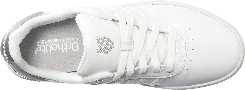 K-Swiss Women's Court Lite Stripes Sneaker White/White/Silver