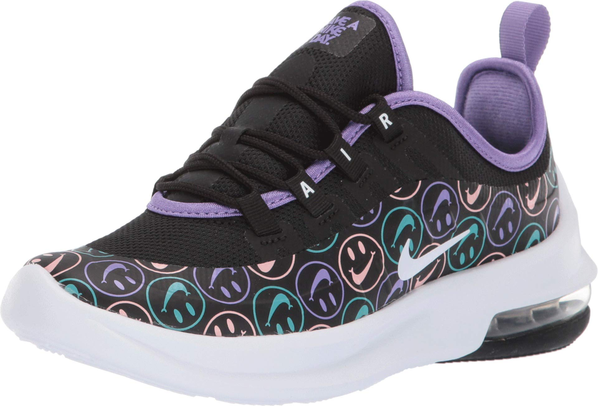 Nike Boy's Air Max Axis (PS) Pre School Shoe Black/White/Space Purple/Hyper Jade Size 2 M US by Nike