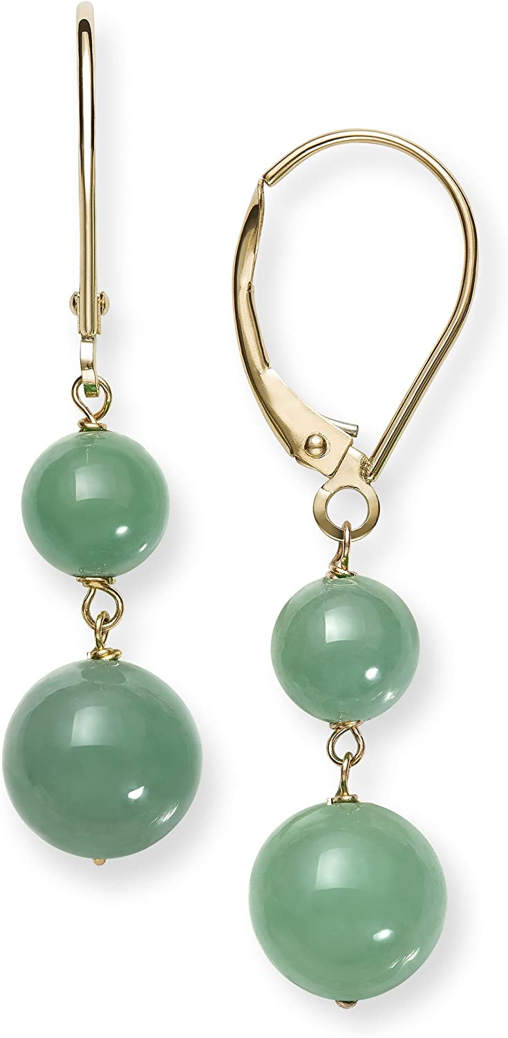 Green jade earrings for women Extra long leaf earrings Green drop earrings Green stone earrings 12th Anniversary Gift Green leaves jewelry