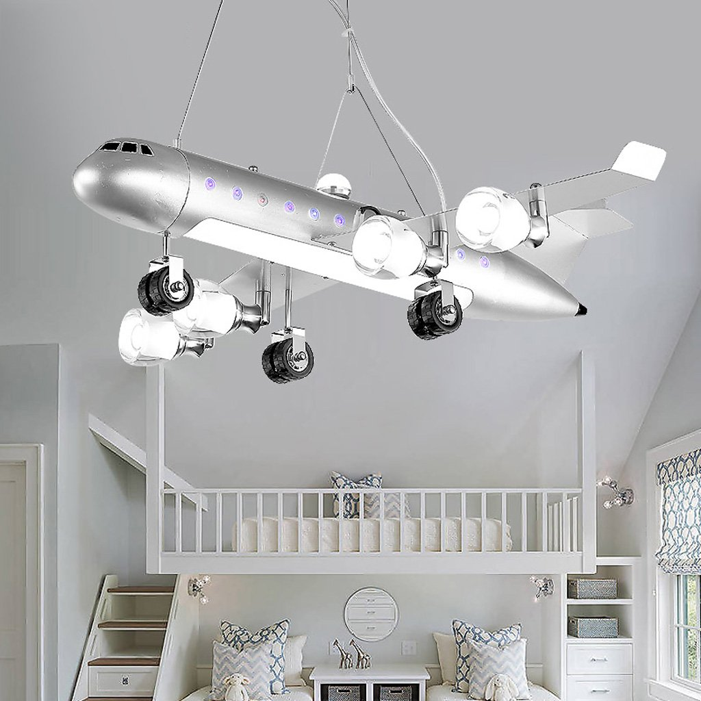 Children's room chandeliers LED eye protection creative cartoon amusement park airplane lights ( Color : White )