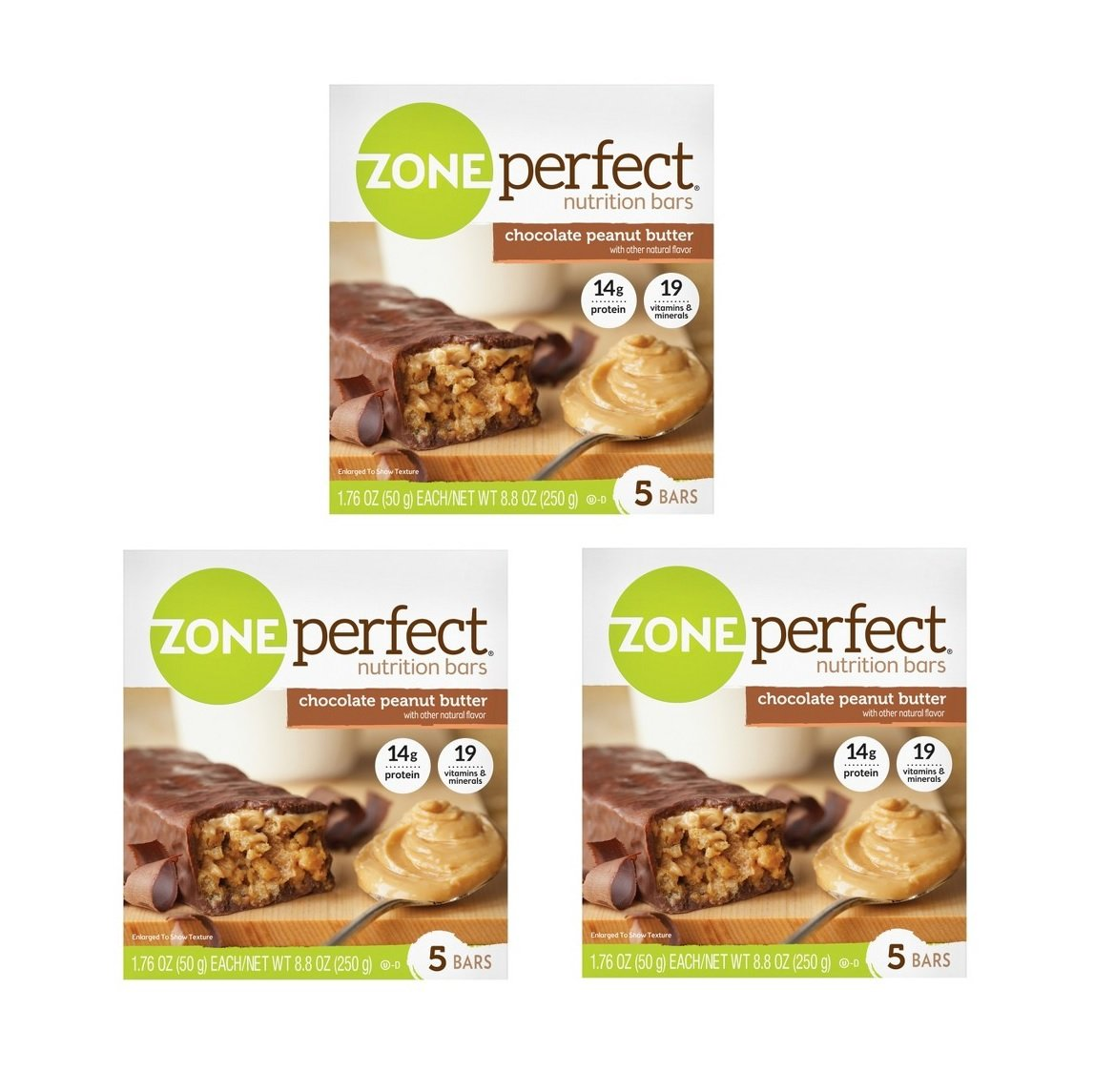 Zone Perfect Nutrition Bar, Chocolate Peanut Butter, 14 Grams Protein, 5 Count (Pack of 3 = 15 Ct)
