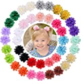 """WillingTee 40pcs 2"""" Chiffon Flower Clips Ribbon Lined Clips Tiny Hair Clips for Baby Girls Infants Toddlers Kids 20…"""