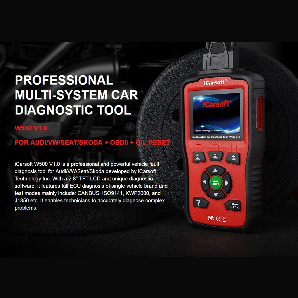 iCarsoft Auto Diagnostic Scanner W500 V1.0 for Audi/VW/Seat/Skoda with ABS Scan,Oil Service Reset ect by iCarsoft (Image #5)