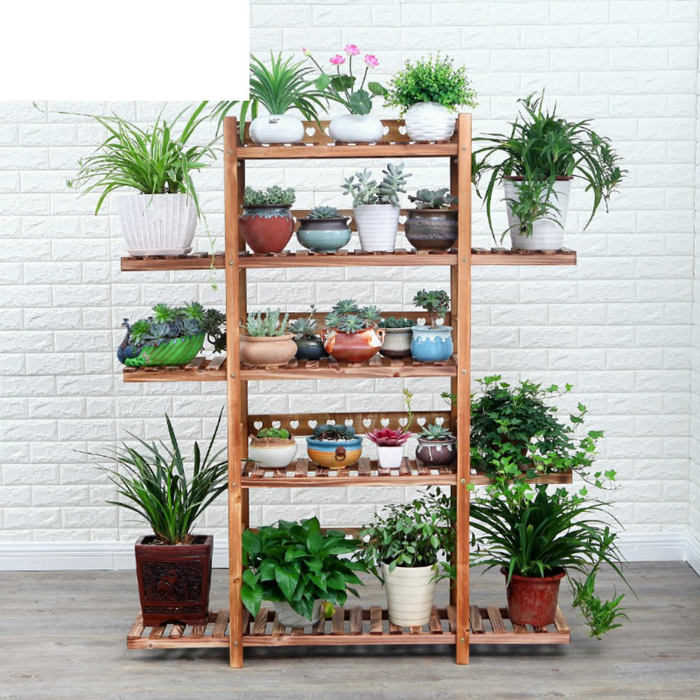 Wooden floor racks Multi-layer floor pot holder Balcony Indoor and outdoor Living room Wooden showy-C by RQEZSCLSGJGC