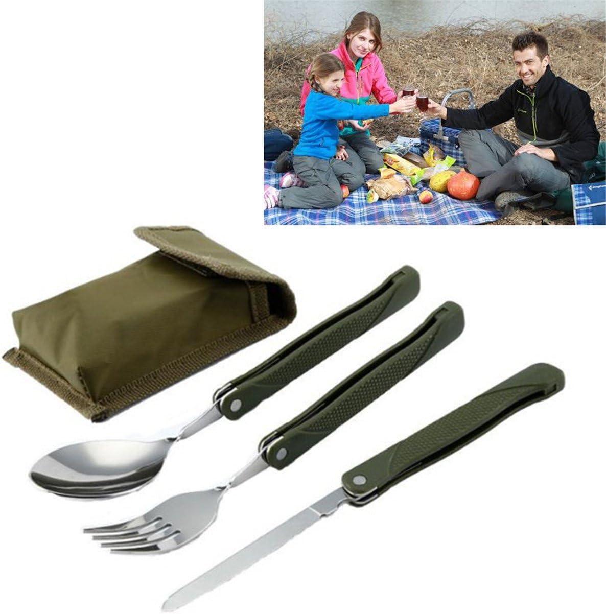 Lalang Multifunktions Outdoor Campingbesteck Klapp-Besteck aus Edelstahl f/ür Backpacker Wandern Besteck Set