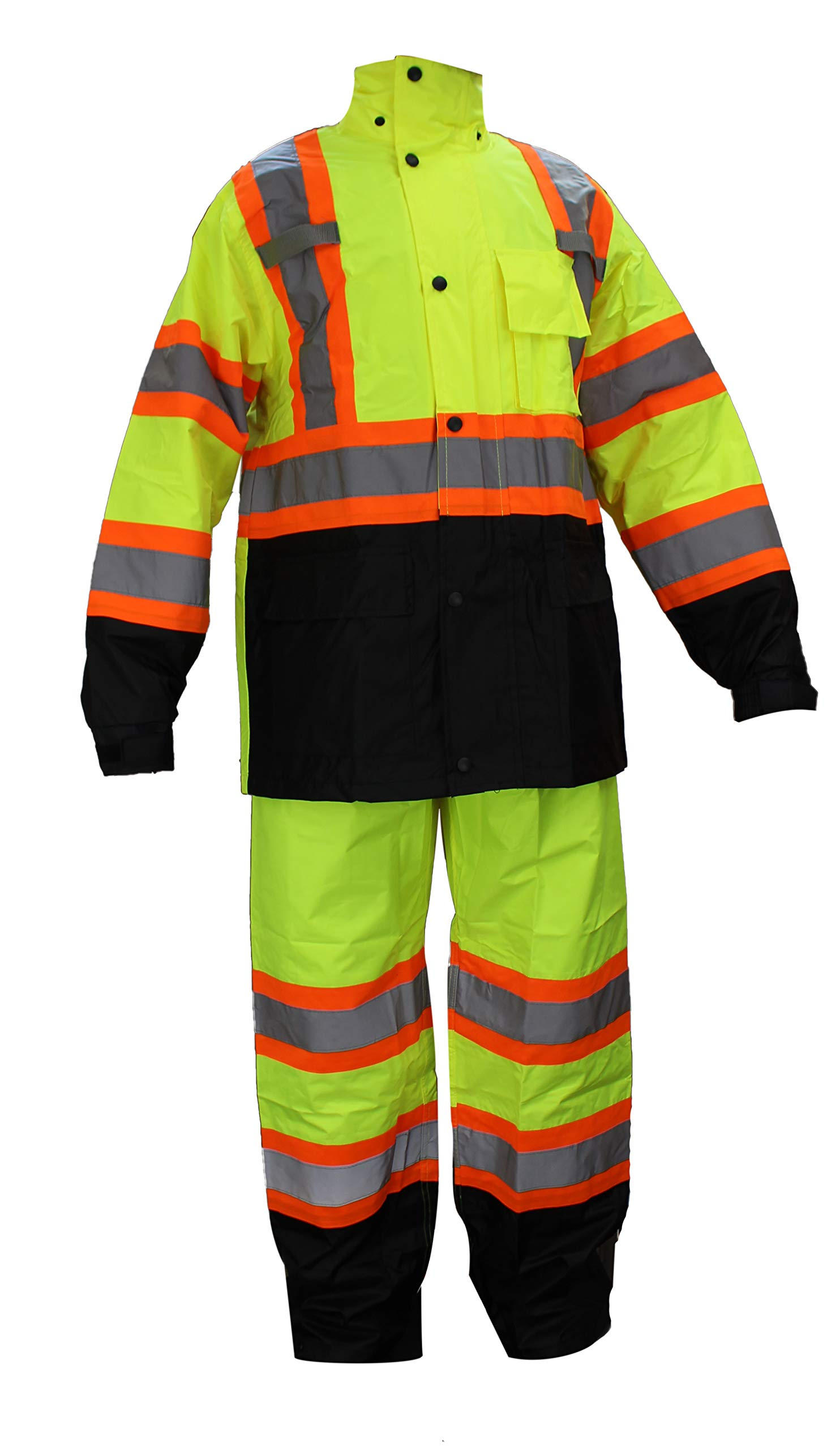RK Safety RW-CLA3-TLM55 Class 3 Rain suit, Jacket, Pants High Visibility Reflective Black Bottom with X Pattern (3XL, Lime)