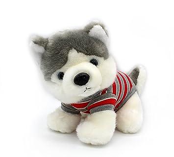 Husky siberiano en rojo T Shirt sentado de peluche (cachorros animales de peluche de perros
