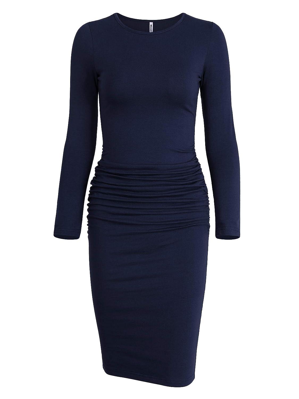 Missufe Women's Ruched Casual Sundress Midi Bodycon Sheath Dress