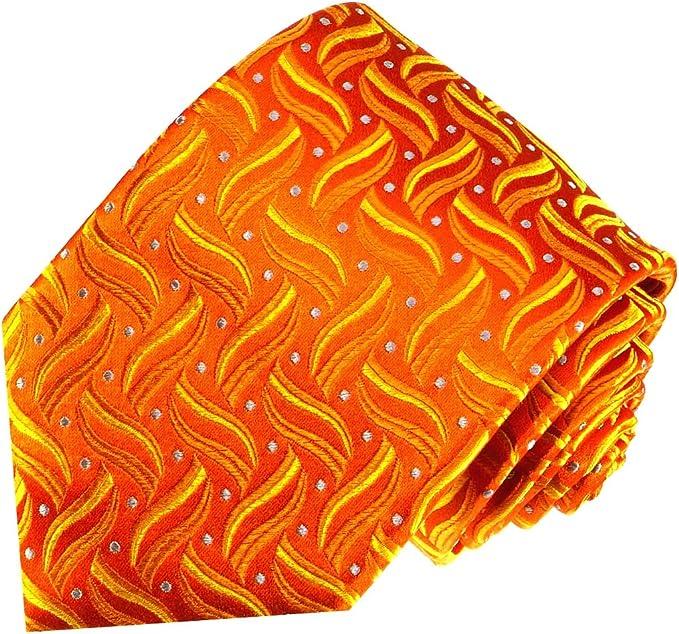 LORENZO CANA – PREMIUM corbata de seda de color naranja – 100 ...