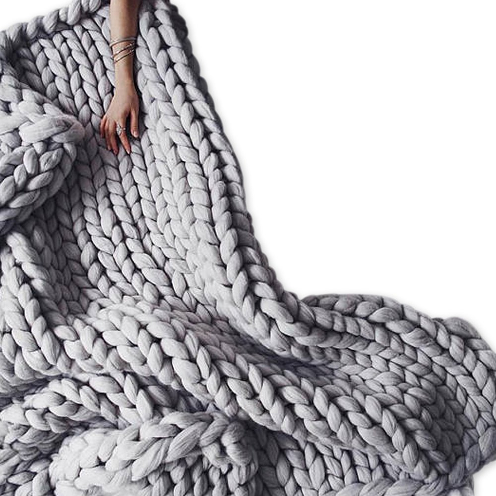 Light Grey Chunky Merino Wool Knit Throw,Giant Chunky Throw Arm Knit Blanket,51x67in Super Chunky Blanket,Super Thick Blanket,Decor Home & Bedroom by Clisil (Image #1)