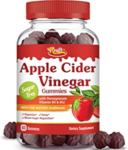 Neaft Apple Cider Vinegar Gummies with The Mother, Weight Management, Detox Cleanse, Immunity & Digestion, No Sugar Vegan 500 mg Raw Unfiltered with Pomegranate, Vitamin B9 12, Non GMO No Gluten