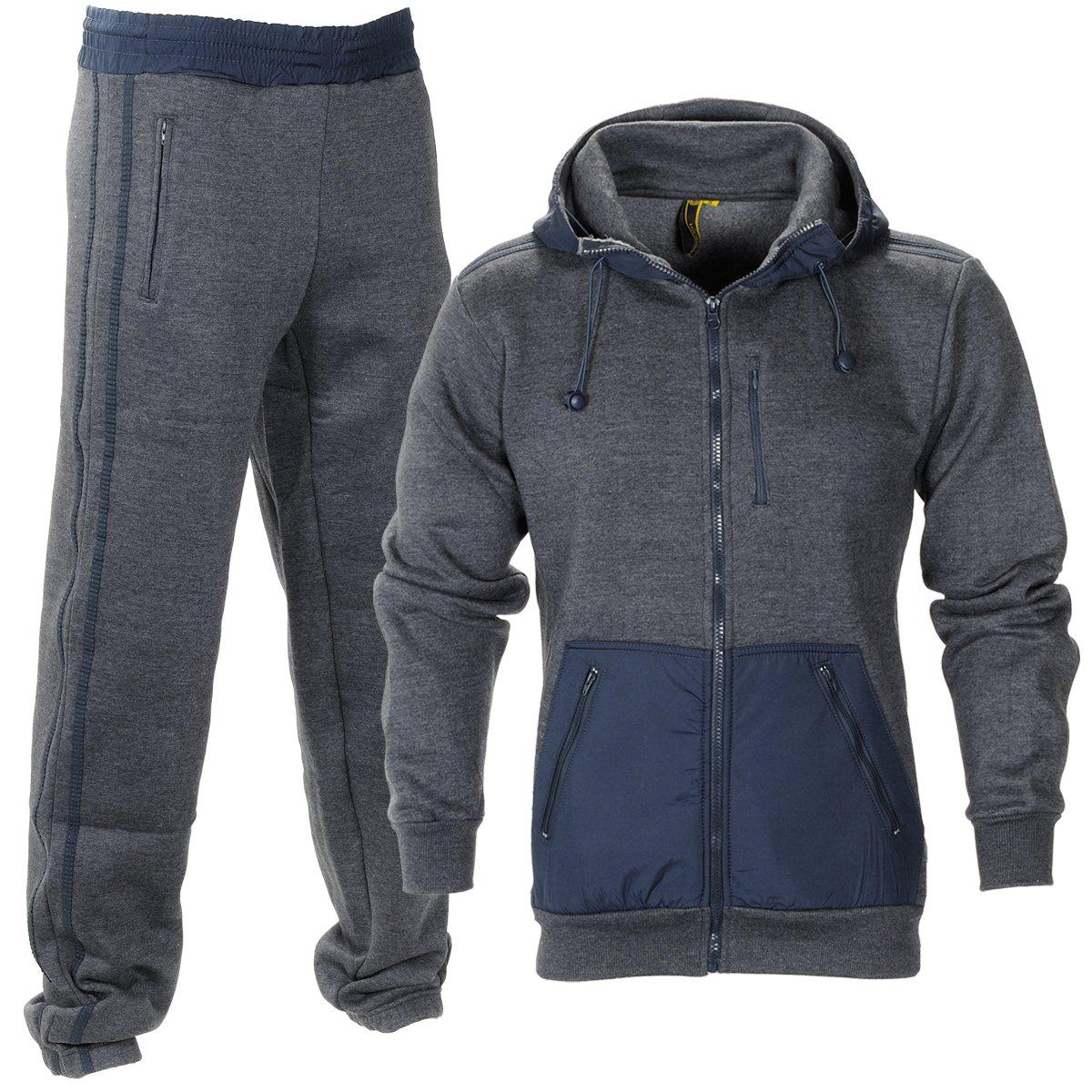 Raiken Essentials Hooded Fleece Team Full Tracksuit Mens Size 5066-TS-Black-S