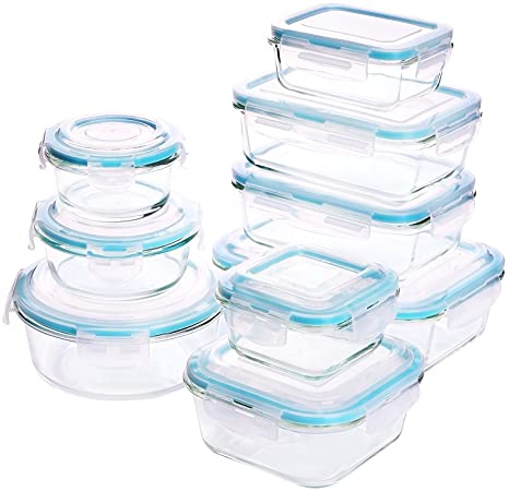 Glass Food Storage Container Set   18 Pieces (9 Containers + 9 Lids)  Transparent