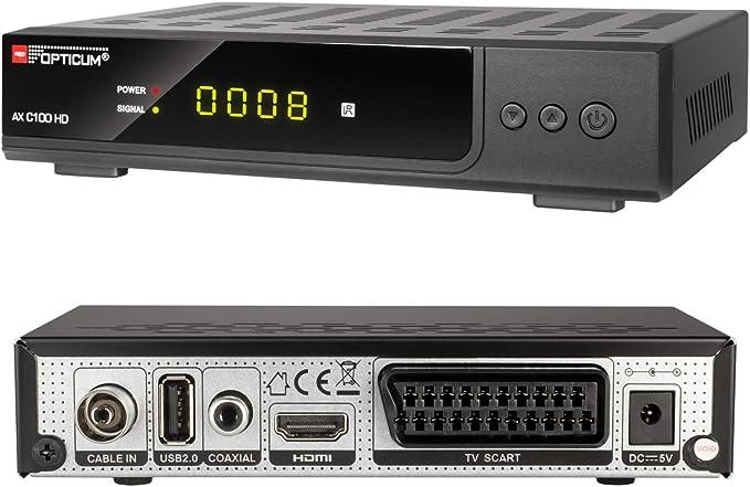 HB-DIGITAL Set: Opticum AX C100 HD Receiver f/ür digitales Kabelfernsehen HDMI, SCART, USB 2.0, Mediaplayer + 3m HDTV Antennenkabel vergoldet mit Mantelstromfilter schwarz HDMI Kabel