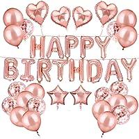 Birthday Girl Decorations Kit, Happy Birthday Banner Balloon Party, Rose Gold Balloons Confetti Balloons Star Heart Foil Balloon for Women Kids Birthday