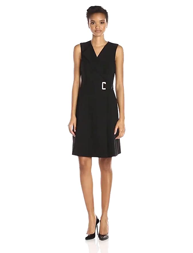 f6419fba1cb84 Calvin Klein Women s Sleeveless Shawl Collar Faux Wrap Dress with Buckle  Detail at Amazon Women s Clothing store