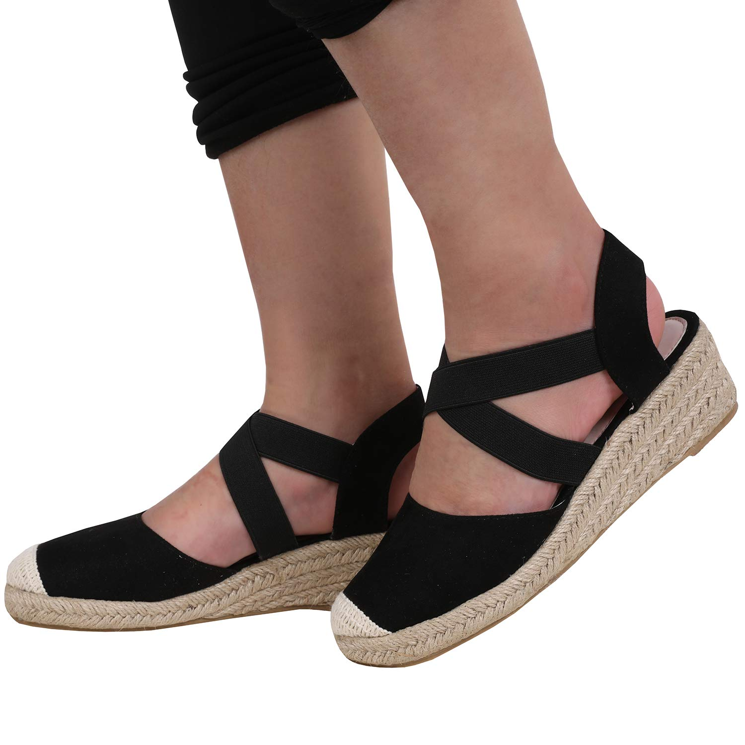 f0ad8b196e31 Amazon.com  Nailyhome Womens Wedge Sandals Espadrilles Heel Slingback  Closed Toe Ankle Crisscross Elastic Band Strap Shoes  Clothing
