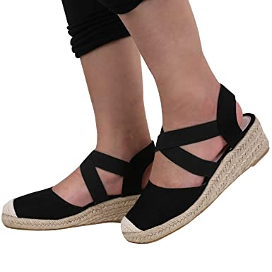 a073d832fcfd Image Unavailable. Image not available for. Color  Nailyhome Womens Wedge  Sandals Espadrilles Heel Slingback Closed Toe Ankle Crisscross Elastic Band  Strap ...