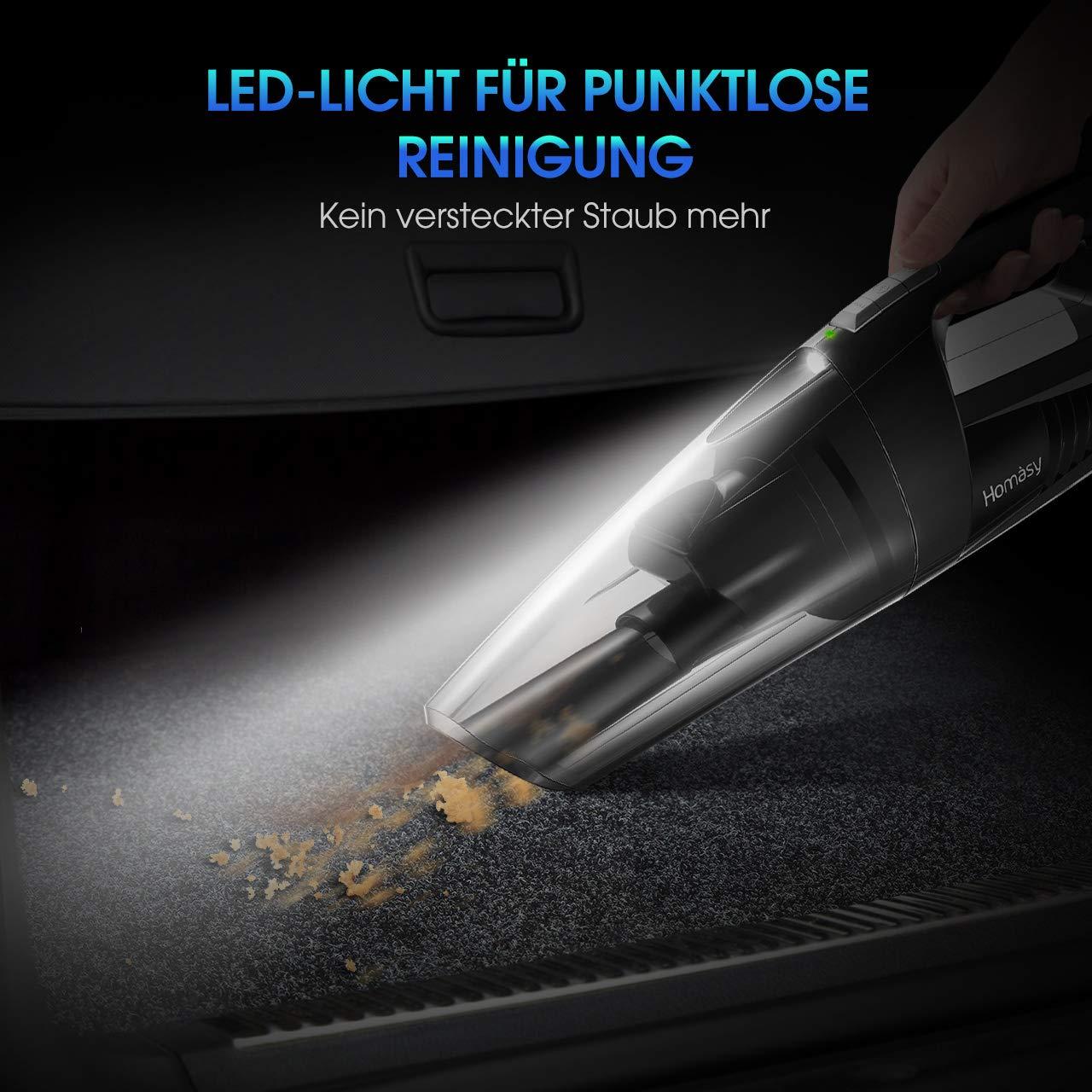 Handstaubsauger Akku Beutellos mit LED-Beleuchtung /& Wandhalterung /& R/ückschlagklappe Kabellos Akkusauger Handsauger