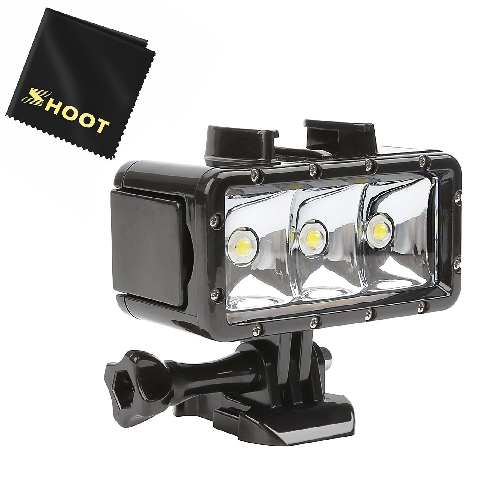 SHOOT Waterproof 30m Diving Light High Power Dimmable LED Underwater Fill Light for GoPro Hero 6/5/5S/4/4S/3+,Campark AKASO DBPOWER Crosstour SHOOT Camera with 1200mAh Built-in Rechargeable Battery by SHOOT (Image #1)