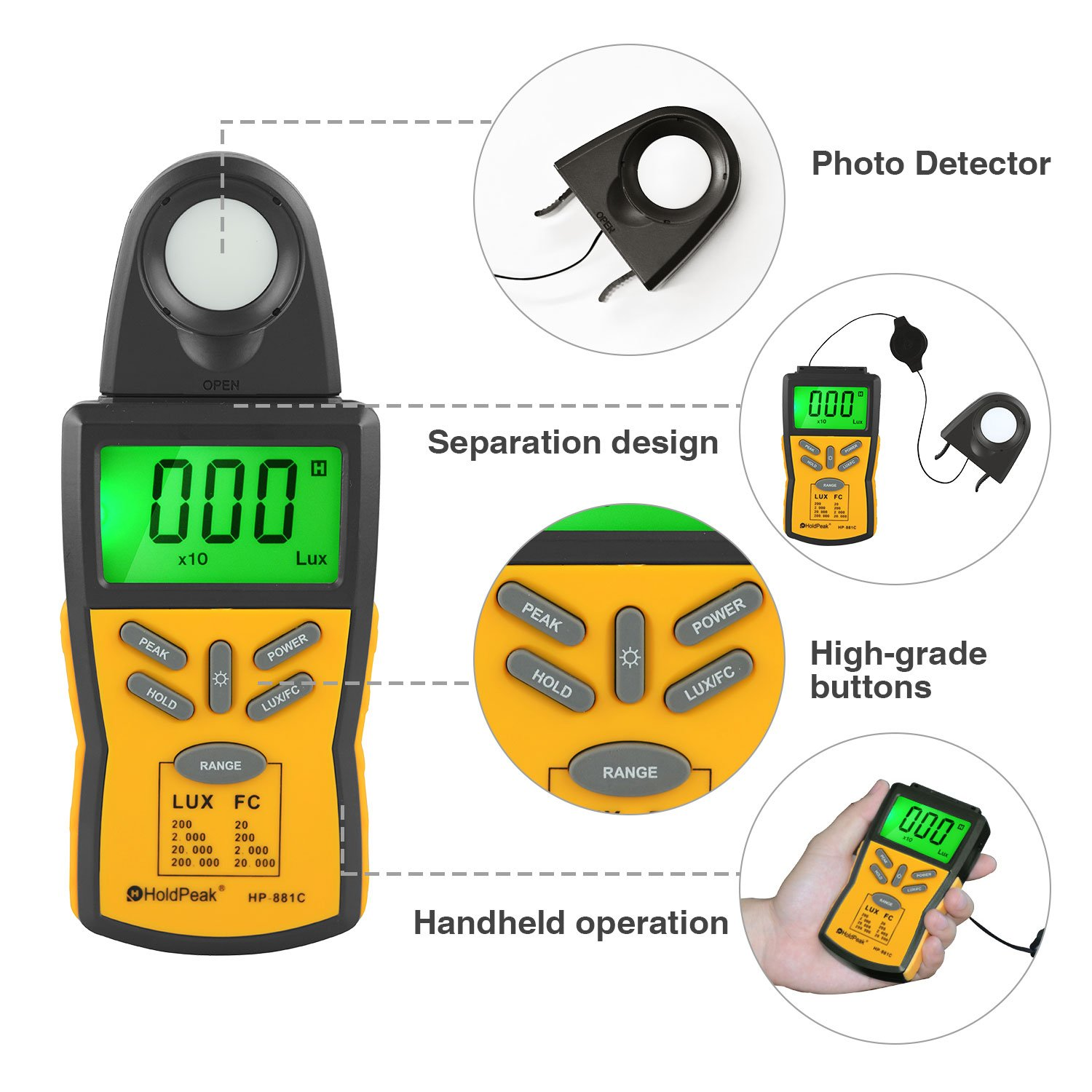 Data Hold and LCD Display,Range 0.1-200,000 Lux HOLDPEAK 881C Digital Light Meter,Lux Light Meter with Peak Hold 0.01-20,000 FC with Backlight for Plants and LED Lights Lux//FC Unit
