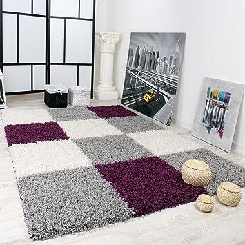 Captivant Paco Home Tapis Shaggy Longues Mèches Hautes Carreaux Violet Gris Blanc,  Dimension:120x170 Cm
