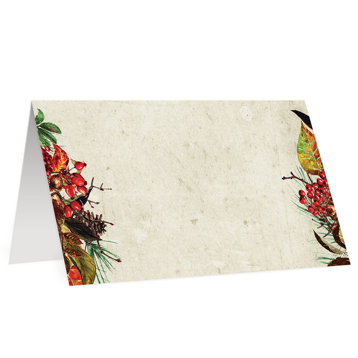 Rustic Thanksgiving Place Cards (50 Pack) Vintage Holiday Blank Escort Cards Assigned Seat Table Tent Christmas Holiday Event 3.5 x 2 High Quality Big Set of Fifty Event Decoration Decor
