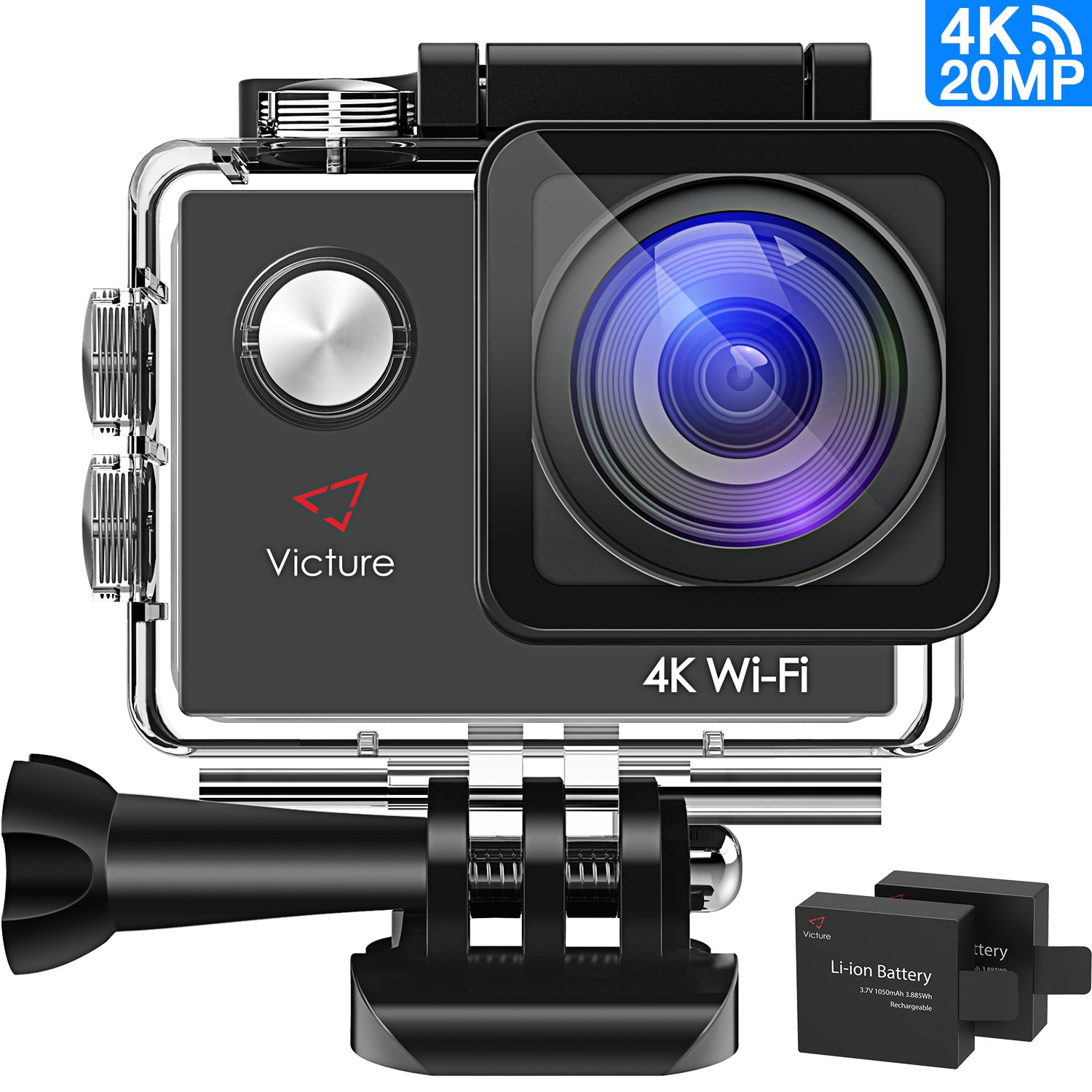 Action Camera 4K WiFi Underwater Waterproof Sports Cam Underwater Diving Camera 170° Wide Angel 2 Inch LCD Display with 2 Pcs Rechargeable Batteries and Accessories Kits Victure