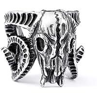 Adisaer 316Lステレンス メンズ 指輪 パンク風 クラシック ヤギ リング シルバー 婚約 結婚式 プロポーズ バレンタインデー ギフト