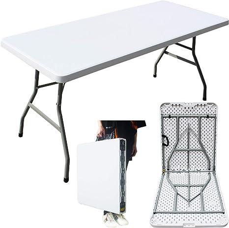 MQ Houseware Mesa plegable de plástico de 6 pies plegable para interior y exterior para camping, jardín, cocina, catering, fiesta, mercado, buffet, ...