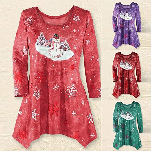 Plus Size Christmas Tops, Star_wuvi Womens Casual Long Sleeve Xmas Print Irregular Hem Blouse T-Shirt, S~5XL at Amazon Womens Clothing store: