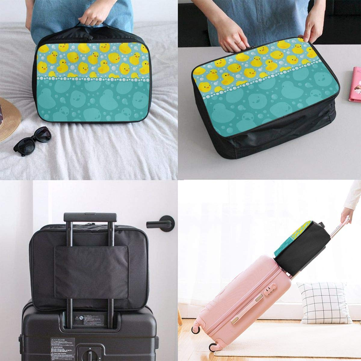 Rubber Duck Cute Aqua Yellow Duckies Travel Lightweight Waterproof Foldable Storage Portable Luggage Duffle Tote Bag Large Capacity In Trolley Handle Bags 6x11x15 Inch