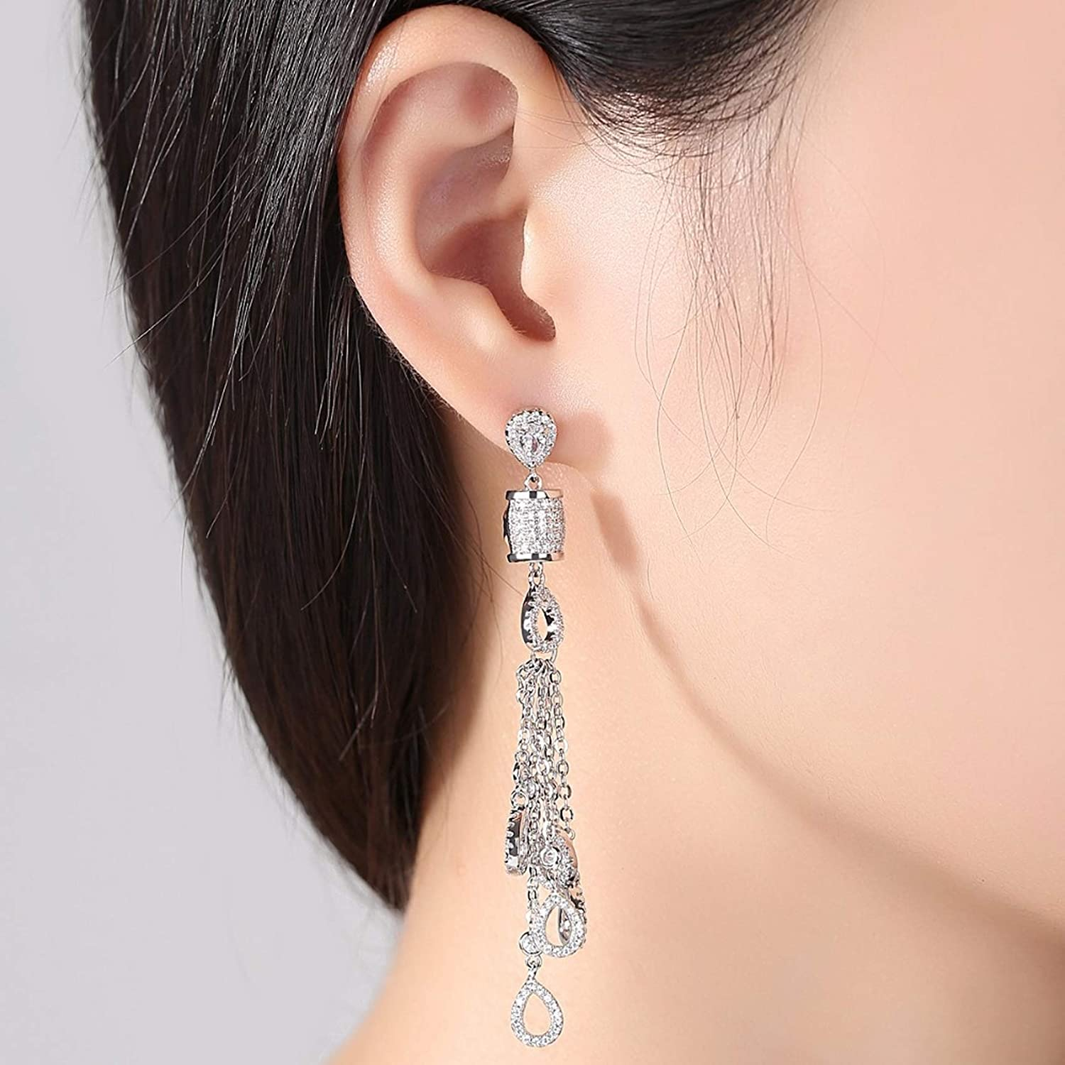 Silver Earrings By CS-DB White Waterdrop Tassels Dangle Tiny Cubic Zirconia Micro Paved Party Stud Earrings For Womens