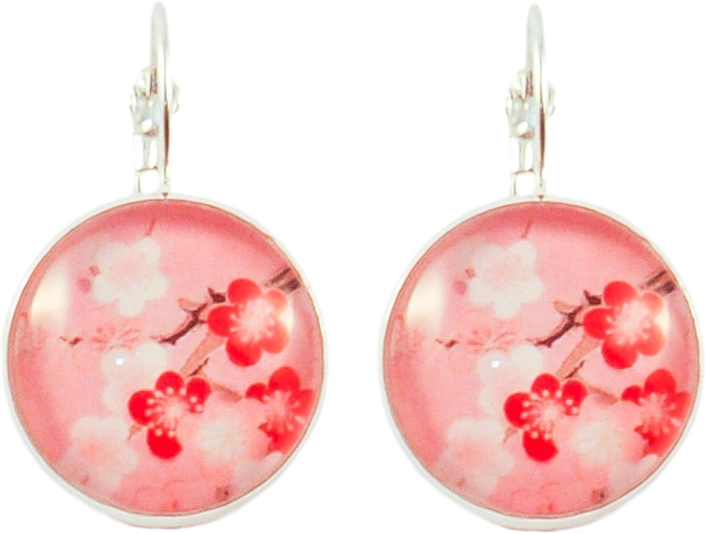 Boucles doreilles Cabochon rond beige arbre /à coquelicots rouges Beige Cr/éative Perles