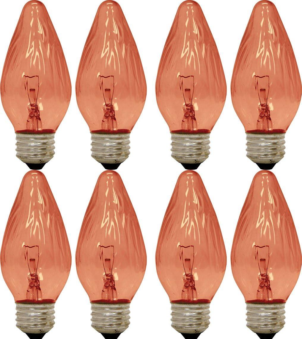 GE Lighting 75339 Amber 25-Watt, 120-Lumen Flame Tip Light Bulb with Medium Base, 8-Pack
