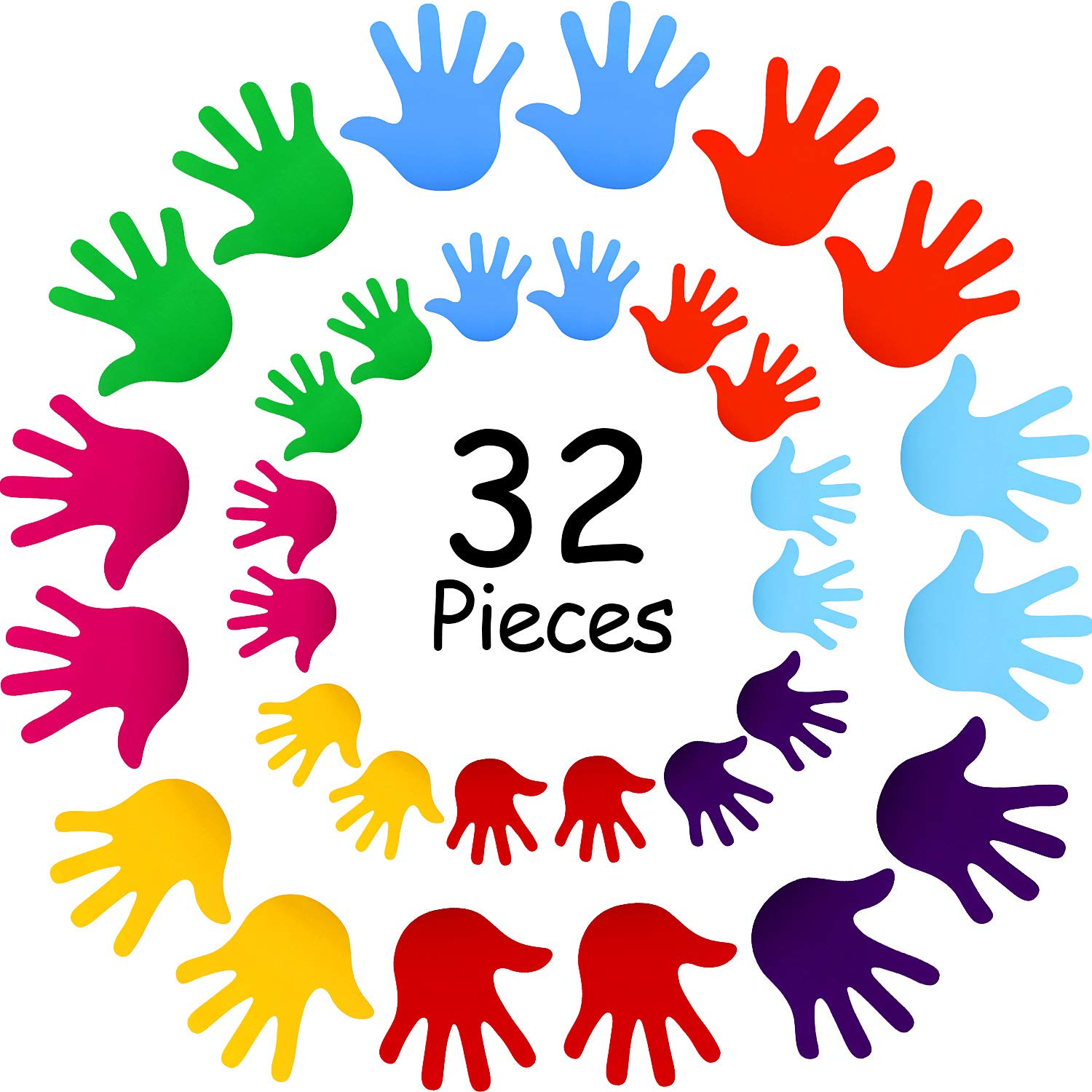 32 Pieces Colorful Handprint Wall Stickers DIY Handprint Wall Decals for Kids Nursery Classroom Bedroom Decoration, 8 Colors