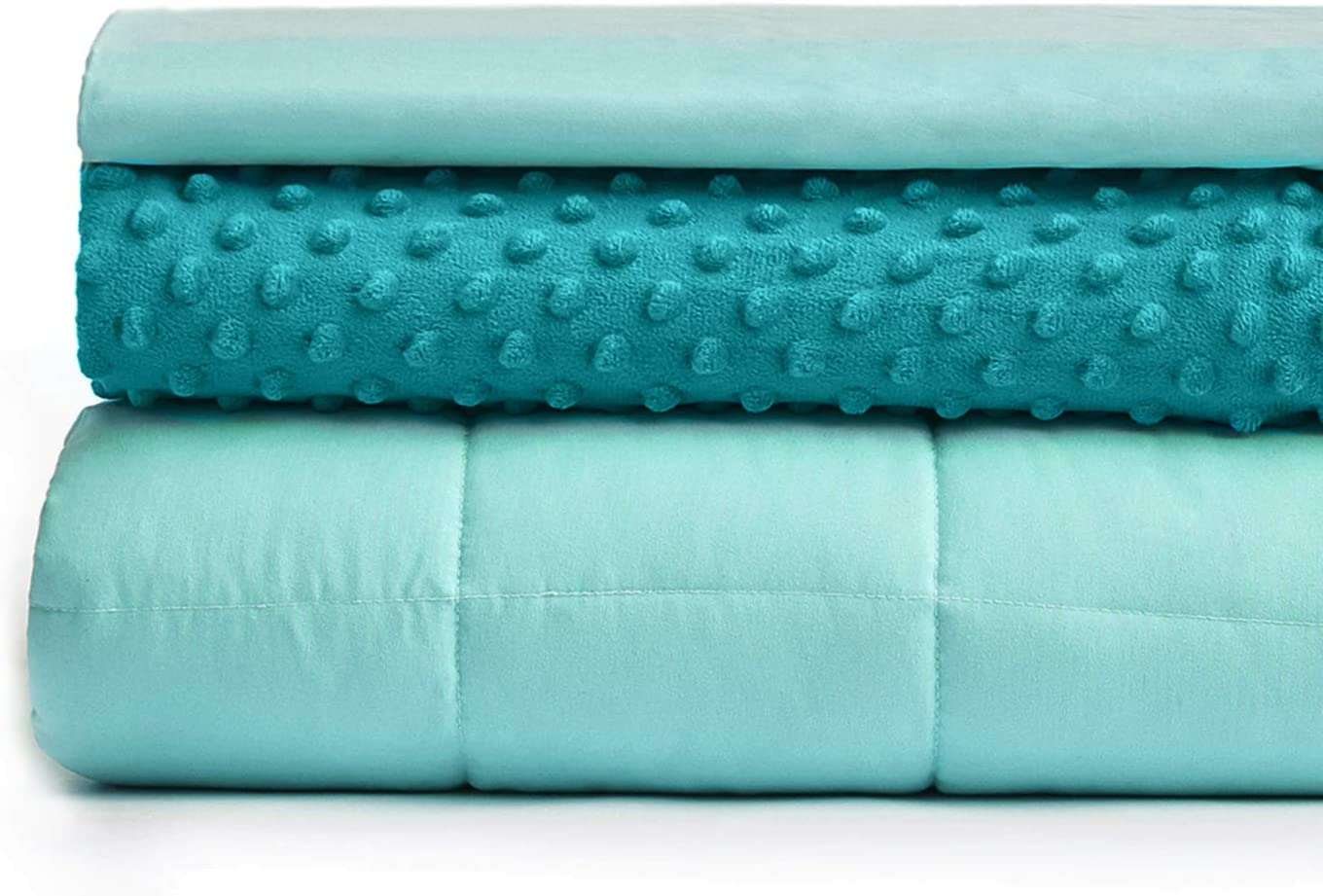 YnM Weighted Blanket and Duvet Covers — Hot and Cold Duvet Cover Set (3 Pieces) — (Green, 60''x80'' 20lbs), Suit for One Person(~190lb) Use on Queen/King Bed